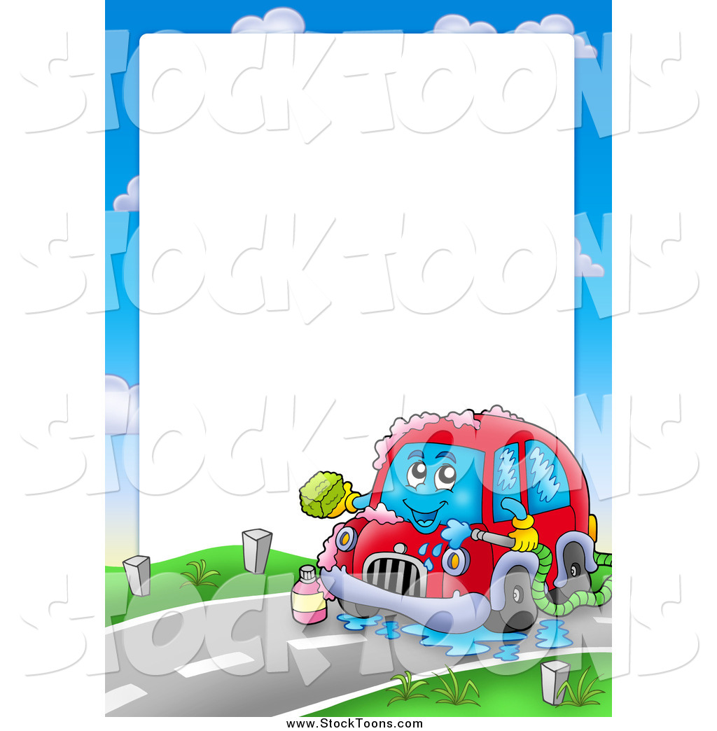 Stock Cartoon Of A Border Car Washing Itself Around Text Space By Visekart 31884
