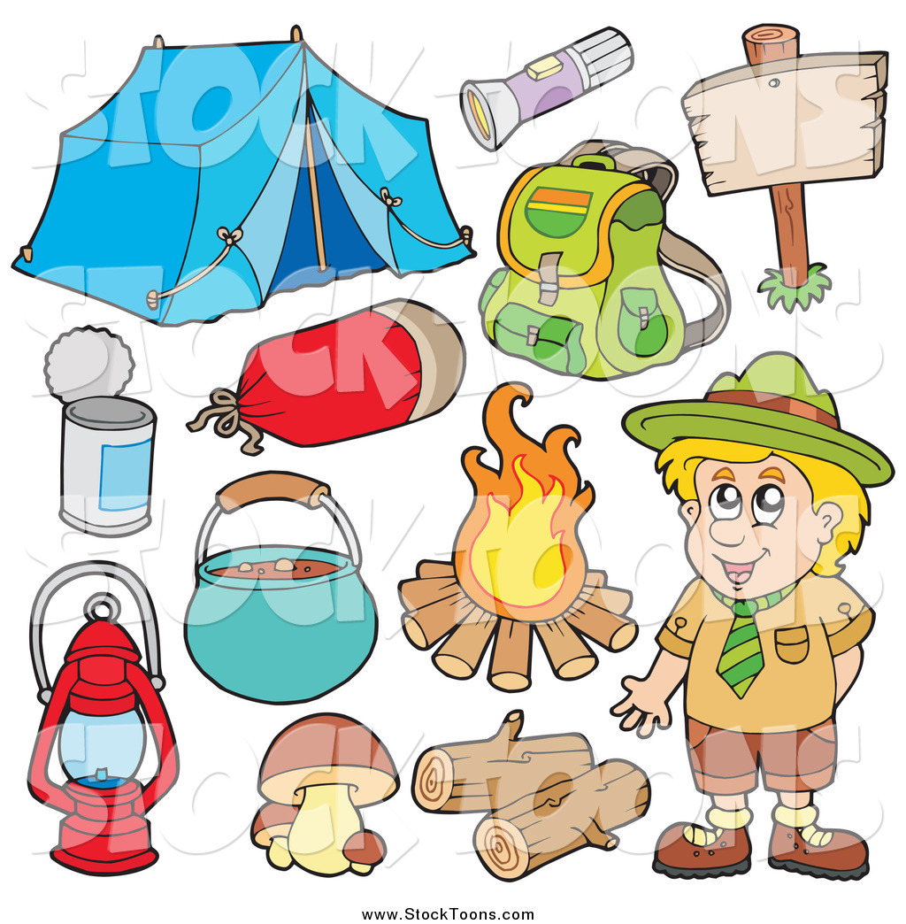 Stock Cartoon Of A Camper Scout Boy And Camping Gear