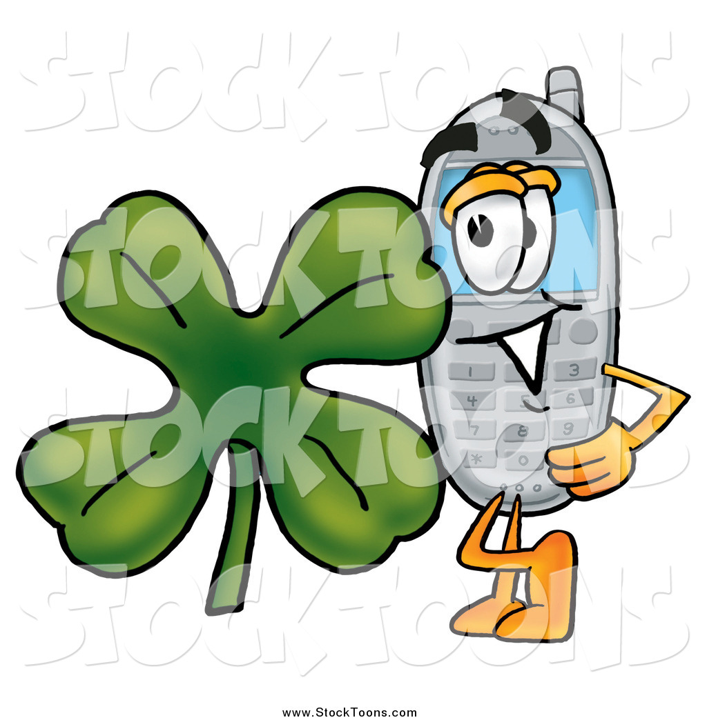 stock cartoon of a cellphone character with a st patricks day
