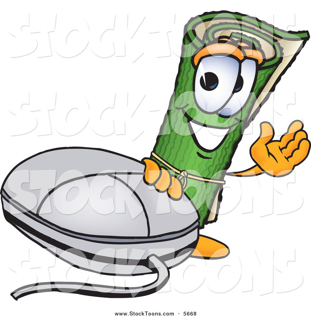 Stock Cartoon Of A Cheerful Green Carpet Mascot Cartoon