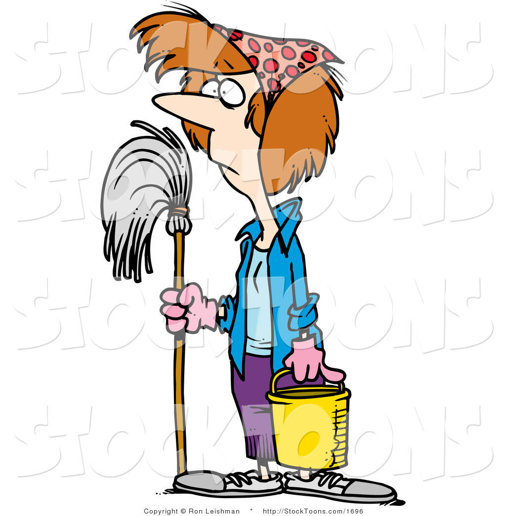Stock cartoon of a cleaning lady by ron leishman 1696