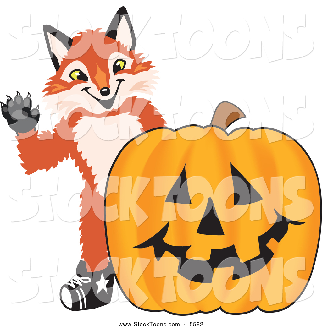 stock cartoon of a cute fox mascot cartoon character with a halloween pumpkin