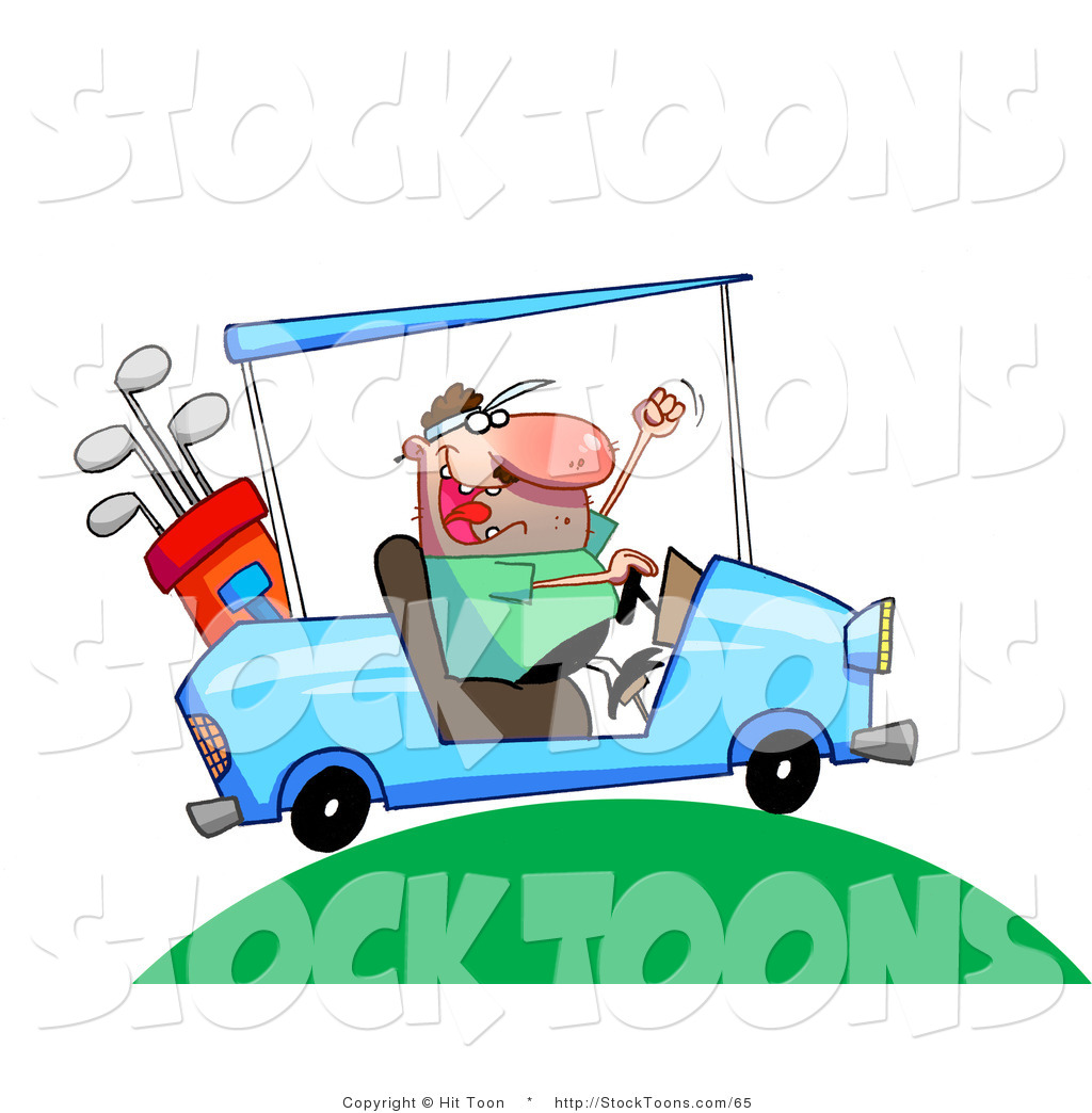 Stock Cartoon Of A Excited Man Driving A Blue Golf Cart By Hit Toon 65