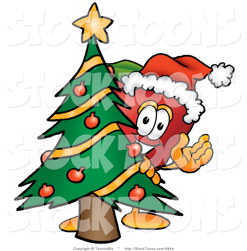 Green christmas tree with red decorations - Stock Cartoon Of A Festive Red Apple Character Mascot With A Decorated Green Christmas Tree