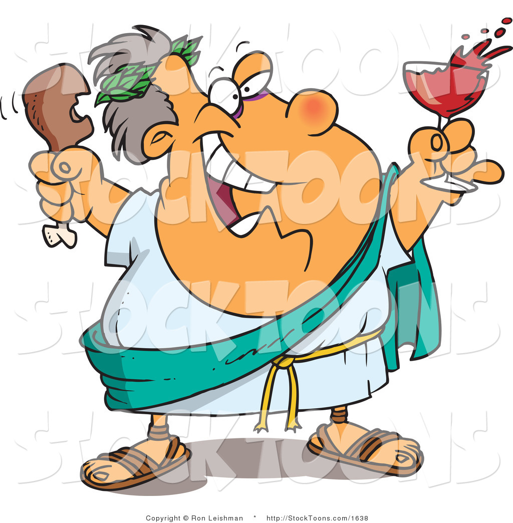 Stock Cartoon of a Greek God with Food by Ron Leishman - #1638