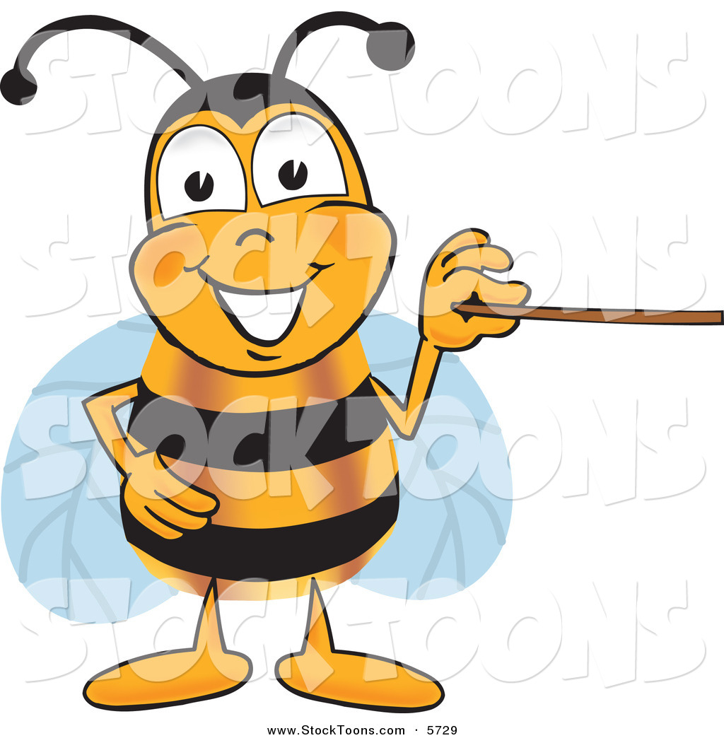 Grinning bee mascot cartoon character holding a pointer stick