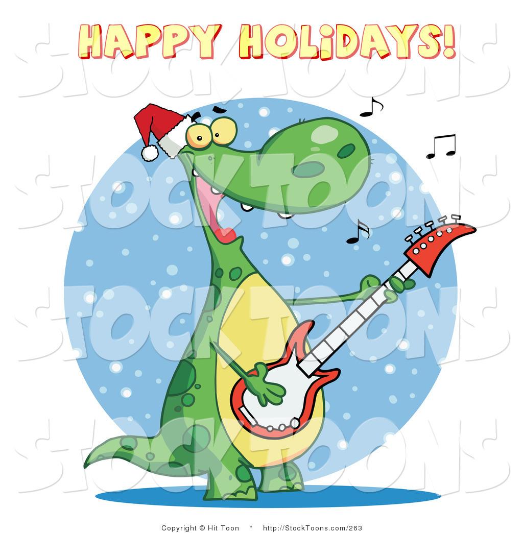 stock cartoon of a happy holidays greeting - Holiday Cartoons Free