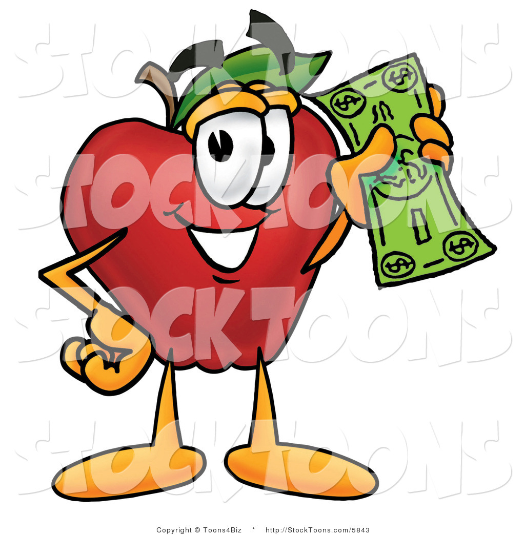 green and red apples clipart. rich grinning red apple character mascot holding a green dollar bill, paying or saving and apples clipart