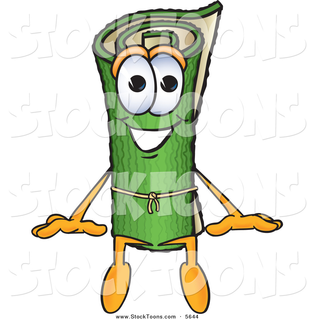 sitting on carpet clipart. stock cartoon of a rolled green carpet mascot character sitting and smiling on clipart r