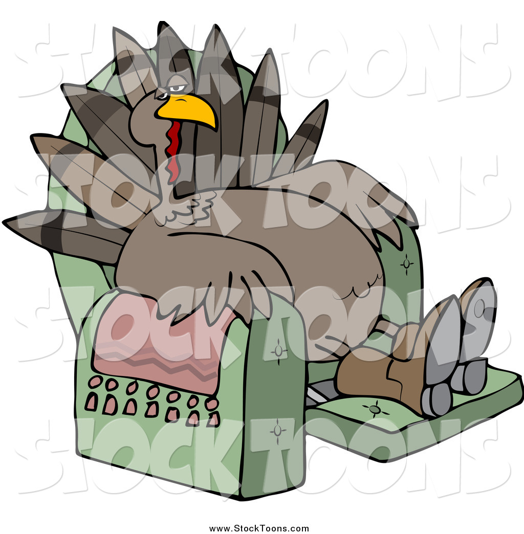stock cartoon of a tired turkey bird lounging in a recliner chair