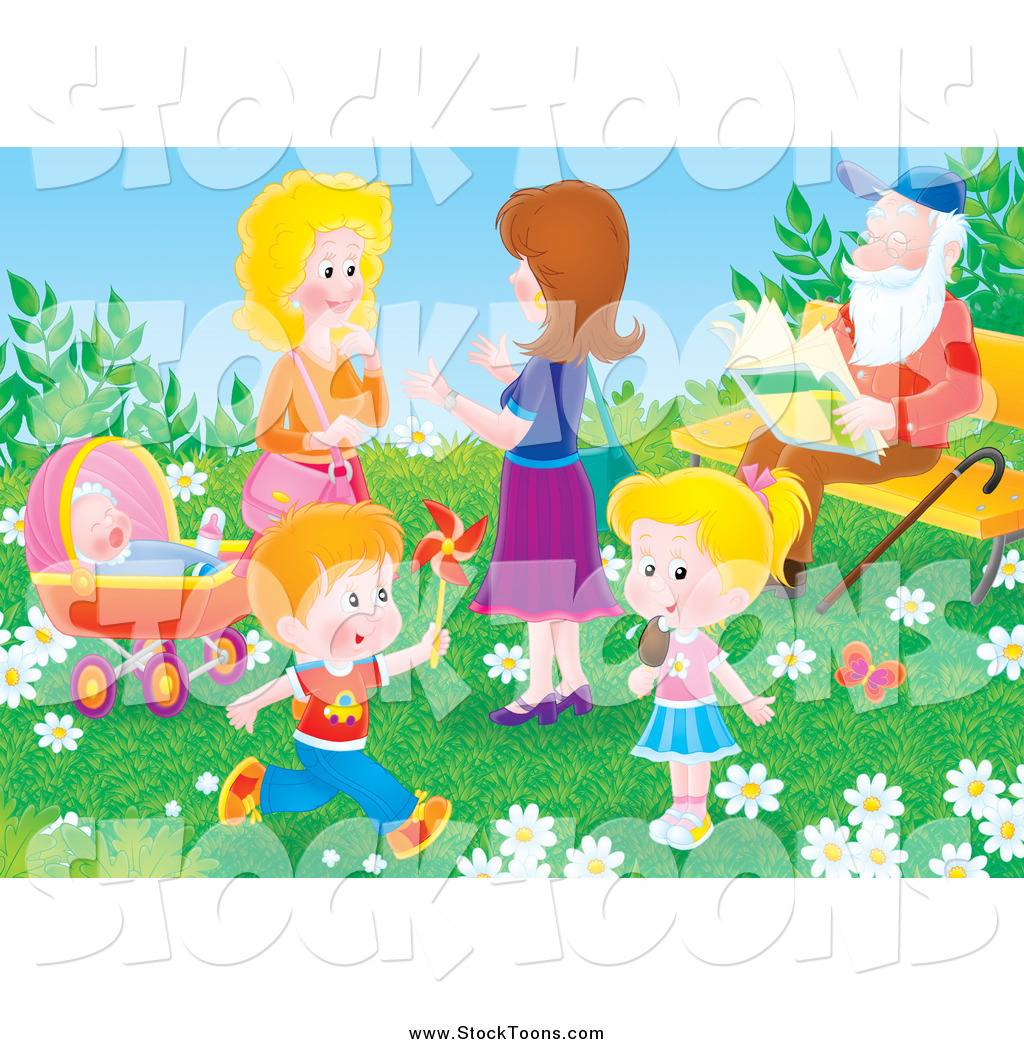 stock cartoon of adults and children in a park on a spring day - Spring Pictures For Children