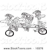 Cartoon of Guys on a Tandem Bike - Working Hard or Hardly Working Concept - Black and White Version by Toonaday