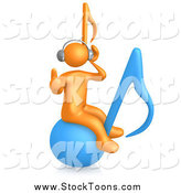 Stock Cartoon of a 3d Orange Guy Wearing Headphones and Listening to Tunes While Bouncing on a Blue Music Note by 3poD