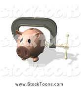 Stock Cartoon of a 3d Piggy Bank Clamped in Vice Grips by Geo Images