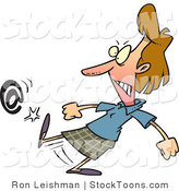 Stock Cartoon of a Angry Woman Kicking an at Symbol by Ron Leishman