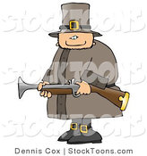 Stock Cartoon of a Armed Pilgrim by Dennis Cox