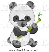 Stock Cartoon of a Baby Panda with Bamboo by BNP Design Studio
