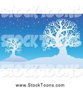 Stock Cartoon of a Background of Bare Winter Trees in the Snow by Visekart