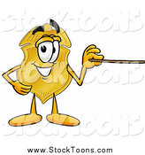 Stock Cartoon of a Badge Character Holding a Pointer Stick by Toons4Biz