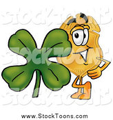 Stock Cartoon of a Badge Character with a Green Four Leaf Clover on St Paddy's or St Patricks Day by Toons4Biz