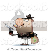 Stock Cartoon of a Bank Robber Carrying a Money by Hit Toon