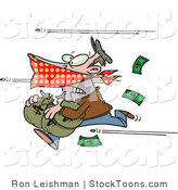 Stock Cartoon of a Bank Robber Stealing Money and Being Shot at by Ron Leishman