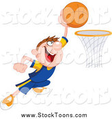 Stock Cartoon of a Basketball Player Man Making a Slam Dunk by Yayayoyo