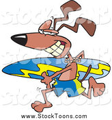 Stock Cartoon of a Beach Surfer Dog Running with a Board by Toonaday