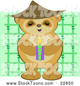 Stock Cartoon of a Bear Monk Holding a Candle by