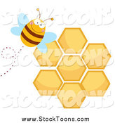 Stock Cartoon of a Bee by a Honeycomb by Hit Toon