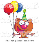 Stock Cartoon of a Birthday Bear in a Party Hat by Hit Toon