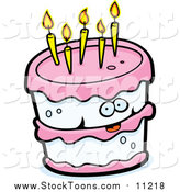 Stock Cartoon of a Birthday Cake Mascot with Five Candles by Cory Thoman