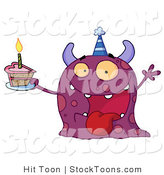 Stock Cartoon of a Birthday Monster by Hit Toon