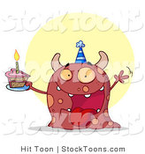 Stock Cartoon of a Birthday Party Monster Waving by Hit Toon