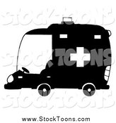 Stock Cartoon of a Black and White Ambulance in Profile by Hit Toon