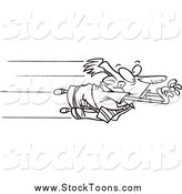 Stock Cartoon of a Black and White Anxious Businessman Leaping by Toonaday