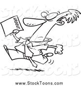 Stock Cartoon of a Black and White Businessman Running to Deliver an Urgent Memo by Toonaday