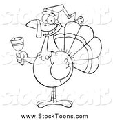 Stock Cartoon of a Black and White Christmas Turkey Ringing a Bell by Hit Toon