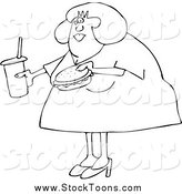 Stock Cartoon of a Black and White Chubby Woman Carrying a Soda and Hamburger by Djart