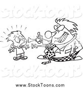 Stock Cartoon of a Black and White Clown Scaring a Boy by Toonaday
