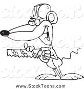 Stock Cartoon of a Black and White Contractor Mouse Holding a Saw by Ron Leishman