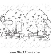 Stock Cartoon of a Black and White Couple Meeting Online by Ron Leishman