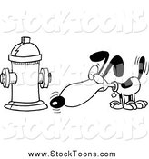 Stock Cartoon of a Black and WHite Dog Anticipating Relieving Himself on a Hydrant by Toonaday