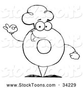 Stock Cartoon of a Black and White Donut Character Wearing a Chef Hat and Gesturing Ok by Hit Toon