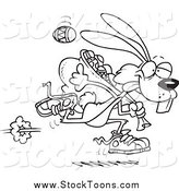 Stock Cartoon of a Black and White Easter Bunny Running with a Bag of Eggs by Toonaday