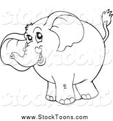 Stock Cartoon of a Black and White Elephant by Visekart