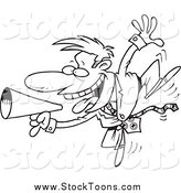 Stock Cartoon of a Black and White Energetic Businessman Using a Megaphone by Ron Leishman