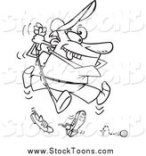 Stock Cartoon of a Black and White Enthusiastic Bad Golfer Swinging by Toonaday