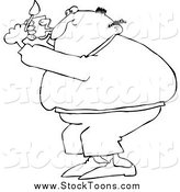 Stock Cartoon of a Black and White Fat Man Lighting a Pipe by Djart