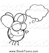 Stock Cartoon of a Black and White Fly Daydreaming by Hit Toon